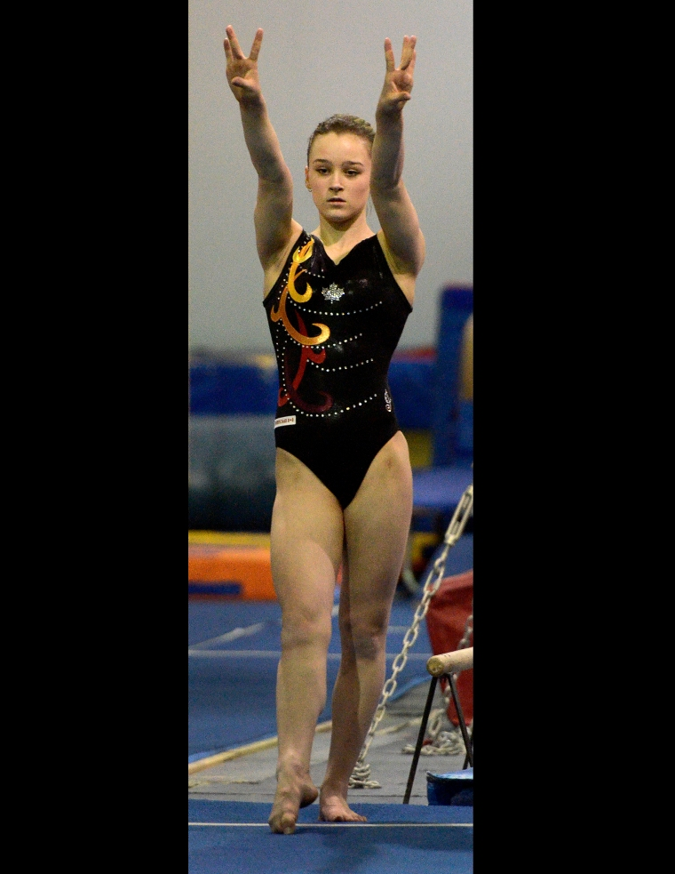 Hamilton. Ontario, Tuesday, January 21,2014 - Gymnast Maegan Chant, who trains at World Class gymnastics, has her sights set on the Olympics in 2016. Maegan gets ready to vault. Photo by: Barry Gray, The Hamilton Spectator.