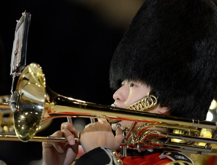 Hamilton. Ontario, Sunday, June 8,2014 - The 23rd Canadian International Military Tattoo at the First Ontario Centre Sunday. A member of the Royal Regiment of Canada Band keeps his eyes on the music. Photo by: Barry Gray, The Hamilton Spectator.